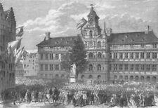 BELGIUM. Statue of Antwerp Crowning Bust of Teniers, antique print, 1864