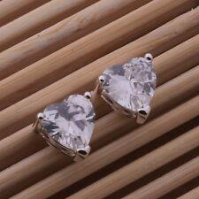 Espiga de Claro Cristal Corazón Señoras Pendientes de plata esterlina 925 Mariposa Regalo