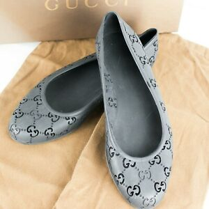 GUCCI GG Pattern Rubber Jelly Ballet Flats Shoes Size 37 US 6.5 with Box