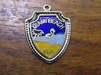 Vintage silver FLORIDA STATE MIAMI BEACH FLAMINGO BIRD TRAVEL SHIELD charm #E2