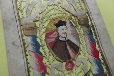 Rare image pieuse canivet Saint Jean Népomucène époque XVII eme  holy card