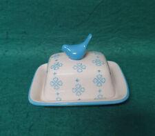 Joyye Small Blue & Cream Butter Dish & Blue Bird Finial