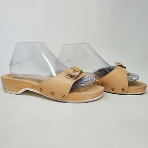 Vintage Dr Scholls Leather & Wooden Exercise Sandals Shoes Size 9 Nude Tan Italy