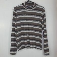 78759183914 Charlotte Russe Women s Mock Turtleneck Sweater Plus Sz 1x Striped Lettuce  Edge