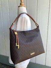 NWT Michael Kors Lexington Large Brown Luggage Logo Hobo Shoulder Bag $348