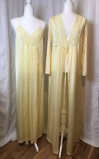 Vtg 80s GILEAD Yellow Nylon Lace Night Gown & Robe NWOT M 2 piece - A26