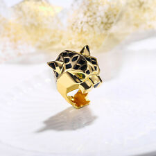 Halloween Unisex Ring Panther Gold Cocktail Animal Leopard Zircon Men Women Gift