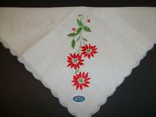Vintage Christmas Ladies Handkerchief Embroidered Poinsettia Blue Edge