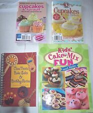 Lot 4 Bake Sale Cookbooks Cupcakes Class Treats Birthday Parties cakes recipes