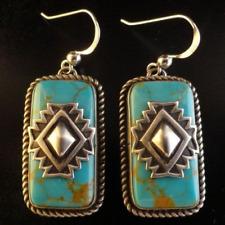 Women Silver Filled Turquoise Hoop Clip On Vintage Earrings Wedding Jewelry Gift