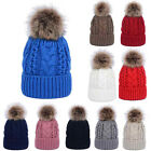 Women Warm Winter Wool Knitted Hat Fur Pom Bobble Beanie Hat Crochet Ski Cap NEW