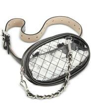 STEVE MADDEN Designer FANNY PACK PURSE BAG Black Clear Silver Chain Strap XL NWT