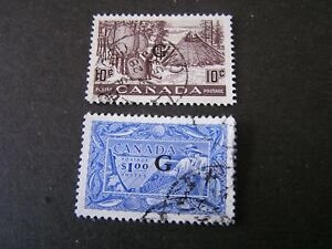 """CANADA, SCOTT # O26/O27(2), 1950-51 OFFICIAL STAMPS OVPT """"G"""" KGVI ISSUE USED"""