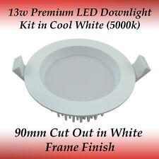 13 watt White Frame Premium Dimmable LED Downlight Kit in Cool White Light