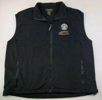 Starbucks Coffee Liqueur Black Fleece Vest Mens XL Full Zip Embroidered
