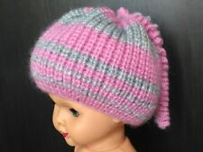 Hand knitted baby girl set - booties and hat, 100% handmade