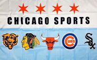Chicago Bears White Sox Cubs Blackhawks Bulls Flag 3x5 ft Sports Banner Man-Cave