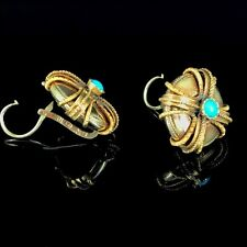 Antique Russian Turquoise Gold 14K Earrings, St. Petersburg, stamped DATE 1861
