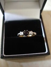 VINTAGE 18CT SAPPHIRE & DIAMOND 3 STONE RING MADE IN ENGLAND PURE QUALITY