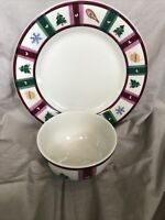 Pfaltzgraff Snow Bear Christmas Holiday Winter Dinner Plate & Soup Cereal Bowl