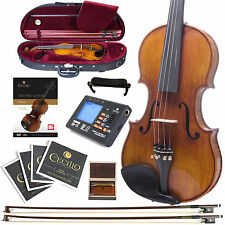 NEW CECILIO 4/4 1-Pc FLAMED BACK VIOLIN ~FULLY SETUP