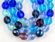 10mm Mixed Czech Fire Polished Sapphire Aqua Amy Round Faceted Glass Beads 25pcs