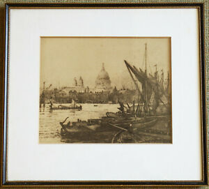 Charles Edward Holloway 1888 Etching St Paul's From The Thames, Framed & Glazed