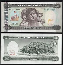 ERITREA 5 NAKFA UNC FIOR DI STAMPA BANKNOTE BELLA 1997 Uncirculated