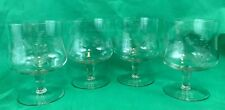 Etched Glass Footed Dessert Cups Vintage Set Of 4 Collectibles