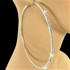 "4"" INCH *HUGE* Pave Set Crystal Rhinestone Cz Hoop Dangle Hip Hop Earrings BLING"