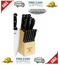 Knife Set 14 Piece Kitchen Knife Set with Block Wooden Stainless Steel New