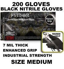 PYTHON Black Nitrile Gloves, 7 mil, Powder Free, 200 Gloves, Size M MEDIUM
