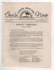 1937 RMS CARINTHIA Cunard White Star Line CRUISE NEWS Havana Cuba NASSAU Bahamas