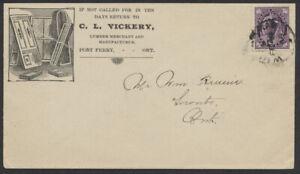 1899 Port Perry Ont Lumber Merchant Advertising Cover, RPO, ex Greene