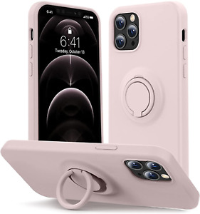 For iPhone 12 Pro Case Liquid Silicone Kickstand Microfiber Liner Thickening Gel