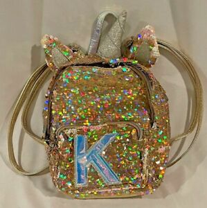 Justice Unicorn Gold Sequin Initial K Backpack School Bag Sparkly  🦋