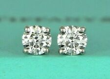 $4,350 Tiffany & Co Platinum 0.44ct D VS2 Round Diamond Solitaire Stud Earrings