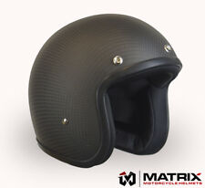low profile Matrix Jet Carbon Matt black Motorcycle helmet Bandit style Large