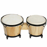 """Bongo Drums 2 Sets 7"""" and 8"""" Wood Instrument Bongos for Kids Adults Beginners"""