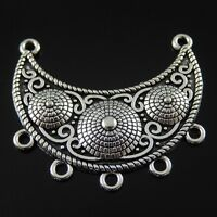 Vintage Silver Alloy Creative Moon Shape Connector Charms Jewelry Crafts 8pcs
