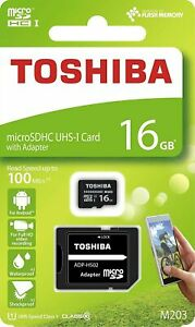 16GB  Micro SD Card With Adapter, Class 10 Speeds Up to 100MB/s Read