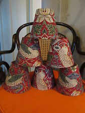 Handmade Candle Clip Lampshade William Morris Strawberry Thief Red fabric