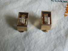 Beautiful Clip Earrings Gold Tone Clear Oblong Rhinestone 1 Inch Long NICE