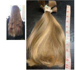 Human Hair Cut 10-11 Inch 4.1 Oz From Young Teenager, Soft and Fine Ash Blonde