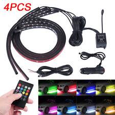 4PCS LED RGB Neon Strip Light Under Cars Tube Underglow Underbody Glow controls