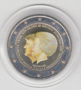 Niederlande  2 €   Thronwechsel   2013  coloriert  Farbmünze