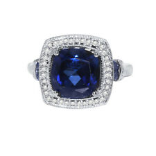 NATURAL AAA+TANZANITE & DIAMOND CUSHION CUT WHITE GOLD RING