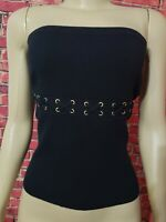 Cache Black Strapless Top Shirt Size M Medium Knit Tube Top Silk Blend
