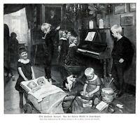 Konzert Hauskonzert Kunstdruck 1909 von Otto Haslund Kinder Musik Zwillinge