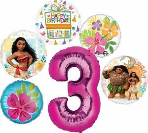 Moana Party Supplies 3rd Birthday Balloon Bouquet Decorations - Pink Number 3